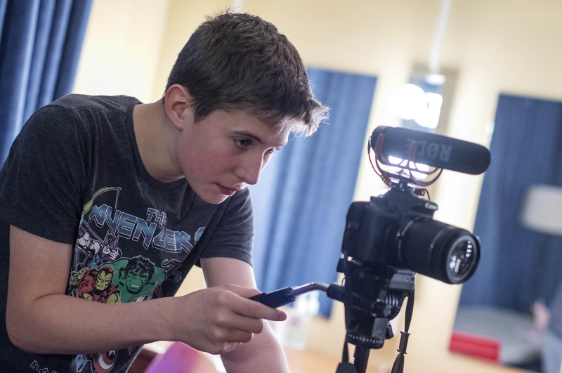 Students in Reel Adventures film scenes from their scripts at Proctors Wednesday, July 31, 2019.