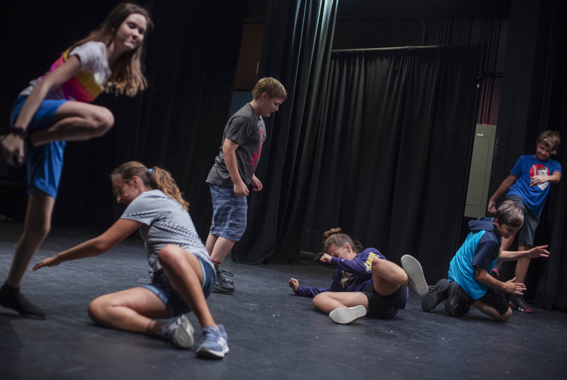 Stage Combat students practice stage fighting in the Addy theatre Wednesday, July 31, 2019.
