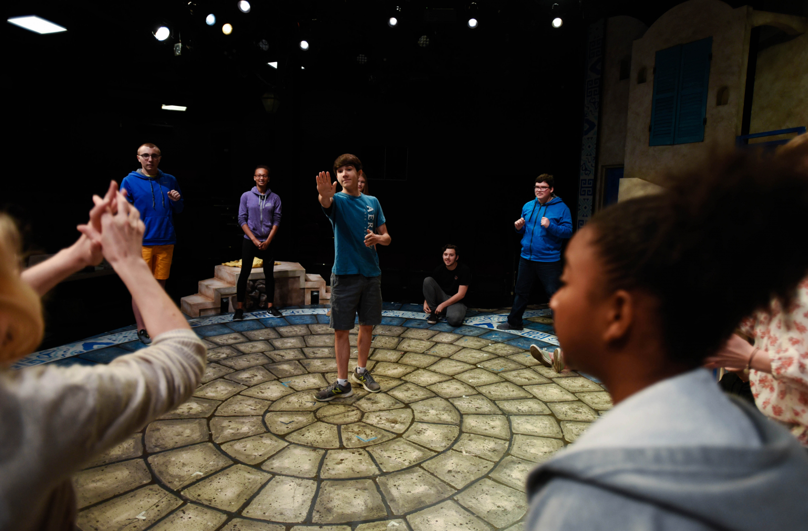 Summer Stage students play games and work on blocking a play at theREP in Albany Thursday, July 27, 2017.
