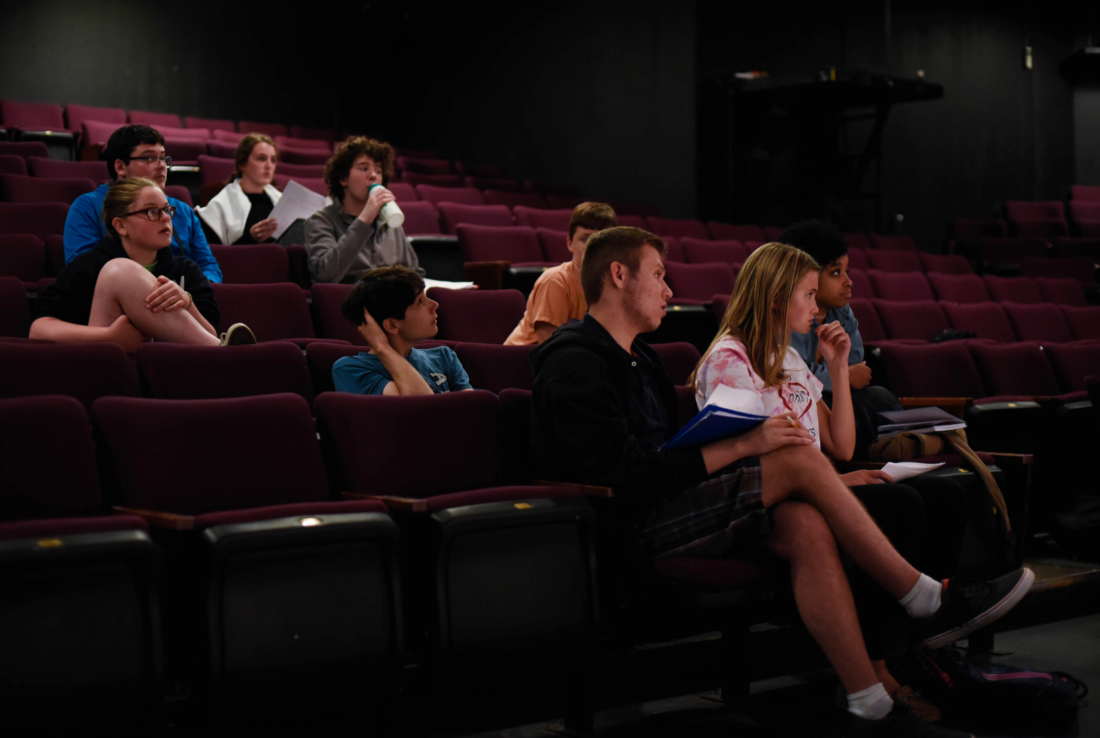 Students in the Summer Stage Young Acting Company program rehearse scenes from plays written by area teens at theREP in Albany Thursday, July 27, 2017.