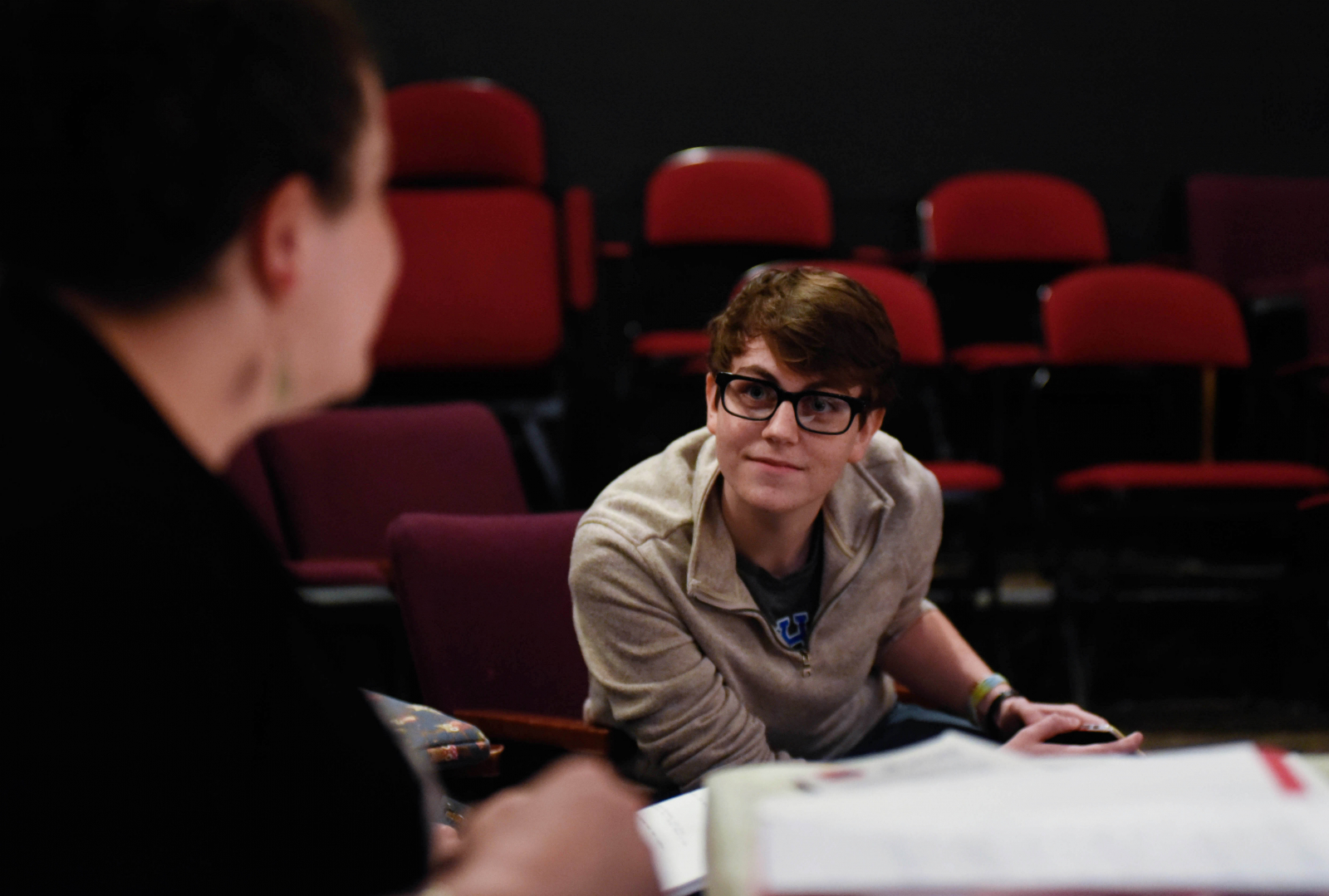 Playwright Jaimie Gaskell sits in on a rehearsal for a play she wrote as it's performed by students in the Summer Stage Young Acting Company program at theREP in Albany Thursday, July 27, 2017. Gaskell has been one of the winners of the Young Playwright Contest for the last three years.