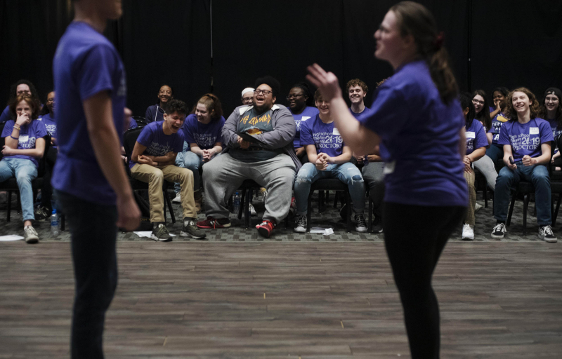 Students work in an improv workshop during the High School Theatre Festival at Proctors Thursday, April 18 2019. Over 250 students from 12 school across the Capital Region came together at Proctors for the 5th annual High School Theatre Festival.