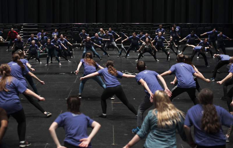 Students work on dance choreography during a workshop during the High School Theatre Festival at Proctors Thursday, April 18 2019. Over 250 students from 12 school across the Capital Region came together at Proctors for the 5th annual High School Theatre Festival.