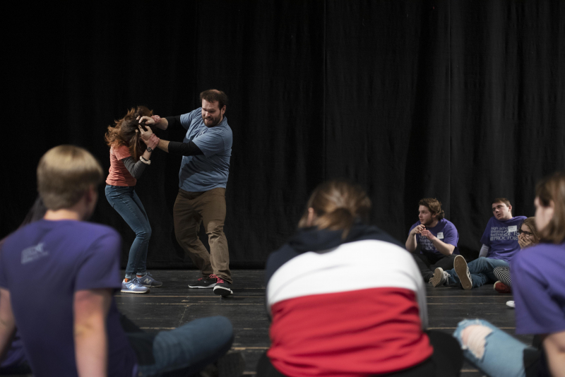 Students watch as instructor Douglas Seldin demonstrates stage combat in a workshop during the High School Theatre Festival at Proctors Thursday, April 18 2019. Over 250 students from 12 school across the Capital Region came together at Proctors for the 5th annual High School Theatre Festival.