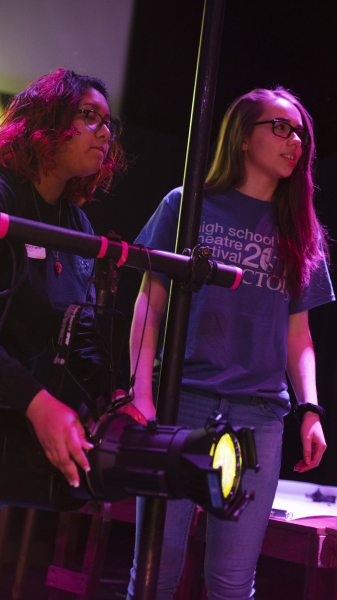 Students work with lights during a storytelling with lighting workshop during the High School Theatre Festival at Proctors Thursday, April 18 2019. Over 250 students from 12 school across the Capital Region came together at Proctors for the 5th annual High School Theatre Festival.