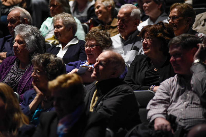 Audience members engage with members of the cast of Cabaret during TheatreTalk, a conversation with artists, in GE Theatre at Proctors Thursday, May 11, 2017.