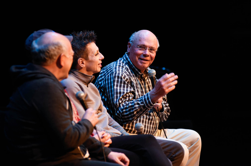 Jack Aernecke, right, interviews Cabaret cast members from left Scott Robertson as Herr Schultz, Alison Ewing as Fraülein Kost and Jon Peterson as Emcee during TheatreTalk in GE Theatre at Proctors in Schenectady Thursday, May 11, 2017. The Henry Schaffer TheatreTalk series offers pre- or post-performance arts discussions are an opprotunity for audience members to engage with artists in a more intimate setting.
